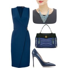 Work Blues by dearmissj on Polyvore featuring Roberto Cavalli, Gianvito Rossi and Yves Saint Laurent #summer #jewelry #necklace #earring #fashion #pearl