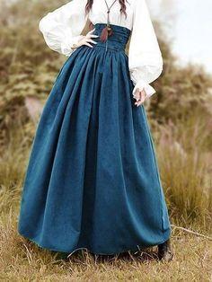vintage dress Fashion - Co Casual Drawstring Vintage Skirt Vintage Outfits, Vintage Dresses Online, Vintage Fashion, Unique Fashion, Long Skirt Outfits, Cute Outfits, Rock Outfits, Long Skirts, Maxi Skirts