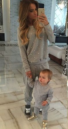 Grey Polka Dot Beading Round Neck Long Sleeve Fashion Loose Leisure Sport Long Jumpsuit