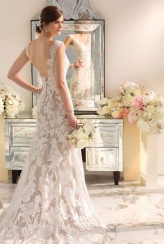 Two tone lace, perfect antique feel for a vintage wedding! :: Vintage Bridal:: Lace wedding gowns