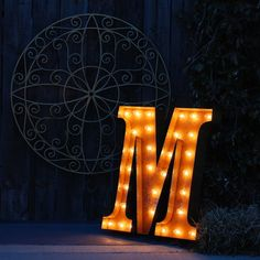 """24"""" Rusty Letter M #VintageMarqueeLights Great piece to hang in a wall gallery or over fireplace mantle. Can be used outdoors on a porch or patio to light up the space."""