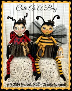 Primitive Cloth Doll Pattern, Lady Bug, Bee, PDF instant download pattern…