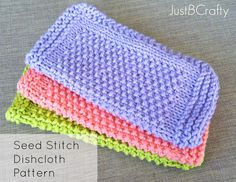 Seed Stitch Dishcloths - Free Pattern | Just Be Crafty