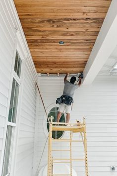 Porch Wood, Diy Porch, Porch Ideas, Ceiling Materials, Porch Ceiling, Decks And Porches, Wrap Around Porches, Exterior Remodel