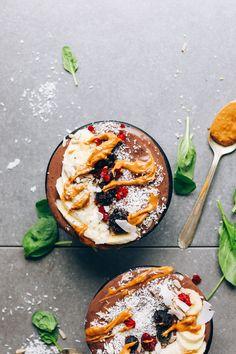 AMAZING PB&J Acai Bowls! Low sugar, super healthy, tastes like a MILKSHAKE! #vegan #glutenfree #acai #healthy #recipe #minimalistbaker