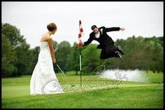 bride and groom on putting green