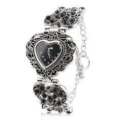 aleación de reloj analógico de la mujer pulsera de cuarzo con forma de corazón caso (de plata) – USD $ 11.99