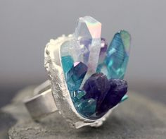 Custom Made Mixed Crystal Ring in Sterling Silver by Specimental, $290.00