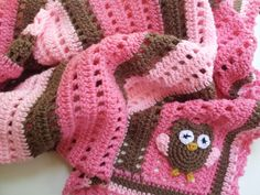 Crochet Owl Baby Blanket in Shades of Pink - Handmade Blanket for Baby Girls  - Ready to Ship. $55.00, via Etsy.