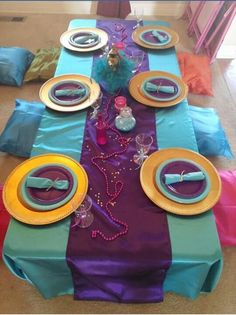 Table decor matching Shimmer and Shine theme.