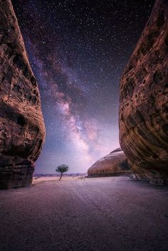 Desert Night, Al-Ula, Saudi Arabia.  The Al-`Ula, some 110 km southwest of Tayma (380 km north of Medina) in northwestern of Saudi Arabia was located on the incense route.