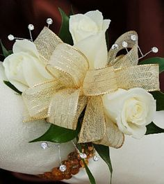 White Sweetheart Rose Corsage with Gold Ribbon