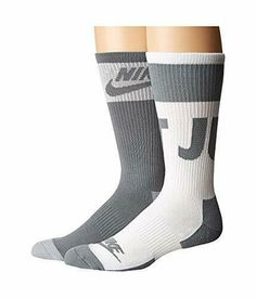 642187866 NIKE Unisex 2 Pair Pack Sportswear Crew Socks Gray/White Large 8-12 SX5770