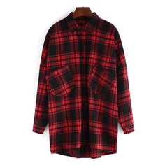 Lapel Plaid High Low Pockets Red Blouse ($14) ❤ liked on Polyvore featuring tops, blouses, plaid top, red top, tartan top, red blouse and pocket tops