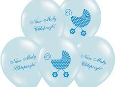 """Bukiet 5 balonów lateksowych/gumowych wypełnionych helem. Wielkość jednego balonu 14"""" (ok. 37 cm po napompowaniu) z nadrukiem Nasz Mały Chłopczyk."""