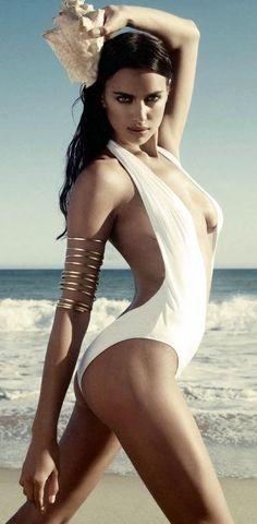 Irina Shayk sexy white bathing suit