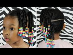 Side Ponytails w Beads | Cute Easy Hairstyle For Little Girls - YouTube