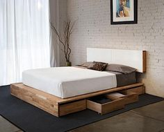 Simple Bedroom Furniture with Wooden Platform Bed Frame Queen, Large Dark Grey Rug Under Bed, and White Painted Brick Wall, 10 designs in Cheap Platform Beds gallery Diy Storage Bed, Wooden Bed, Platform Bed With Storage, Bed Design, Simple Bedroom, Diy Bed, Bedroom Design, Modern Bed, Bed With Drawers