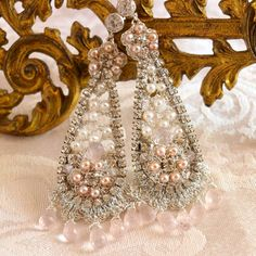 Silver Lace and Pearl Chandelier Earrings