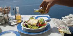 A Greek man putting Greek olive oil in a Greek salad Greek Men, Greek Olives, Greek Salad, Fresh Rolls, Feta, Olive Oil, Goodies, Mexican, Tasty