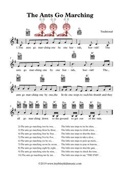 The Ants Go Marching One By One Hurrah Hurrah. Everything you need of this song: Sheet Music, Lyrics, Chords and Video to watch. Songs For Toddlers, Rhymes For Kids, Kids Songs, Family Songs, Nursery Rhymes Lyrics, Nursery Songs, Kindergarten Songs, Preschool Songs, Children's Church Songs