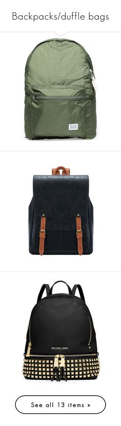"""""""Backpacks/duffle bags"""" by taacovato ❤ liked on Polyvore featuring bags, backpacks, fillers, accessories, bolsas, black, vintage backpacks, vintage bags, day pack backpack and vintage rucksack"""