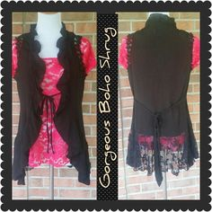 Gorgeous Lacey Boho Shrug Cute little sleeveless boho shrug. Ruffled from shoulder to hem. Lace trimmed arms, color is black. Cute little attached belt. Excellent condition. Mine Tops
