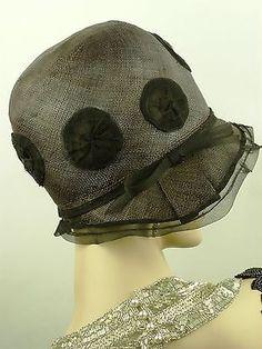 VINTAGE HAT ORIGINAL1920s FRENCH CLOCHE HAT, FINE BLACK STRAW w LACE EDGE & DOTS   eBay