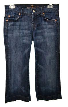 7 SEVEN FOR ALL MAN KIND Womens 25 2 Dark Wash Stretch Crop Dojo Denim Jeans  #7ForAllMankind #CapriCropped