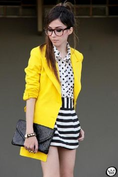 Street Style Outfits, Casual Street Style, Casual Outfits, Cute Outfits, Yellow Coat, Yellow Blazer, Mellow Yellow, Bright Yellow, Yellow Dress