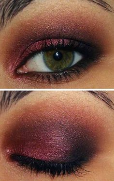 cranberry smoky eye. wonderful color for green eyes
