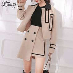 Find More Women's Sets Information about Ellacey New Autumn 2018 Fashion Jacket 2 Pieces Set Women Skirt Suit Khaki Suit Set Ladies Patchwork Elegant Blazer Skirt Sets,High Quality Women's Sets from Ellacey Store on Aliexpress.com Stage Outfits, Teen Fashion Outfits, Suit Fashion, Fashion Dresses, Cute Casual Outfits, Pretty Outfits, Stylish Outfits, Korean Girl Fashion, Korean Street Fashion
