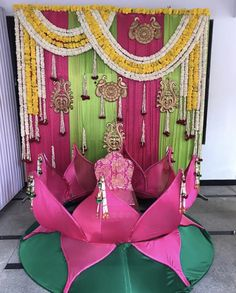 Lotus decor with attractive backdrop for pellikooturu decoration. Marriage Decoration, Wedding Stage Decorations, Backdrop Decorations, Diwali Decorations, Garland Wedding, Festival Decorations, Flower Decorations, Backdrops, Mehendi Decor Ideas