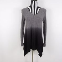 Saks Fifth Avenue Gray Ombre 100% Cashmere Asymmetrical Sweater Size S #SaksFifthAvenue #VNeck #Casual