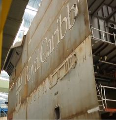 Image of Quantum of the Seas block in Hall 6 at Meyer Werft  from Royal Caribbean video  'Quantum of the Seas Leaps Forward - A Royal Caribbean Construction Update'.
