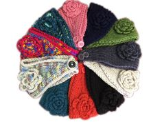 Rosette Crocheted Winter Headband: One Size Fits Most