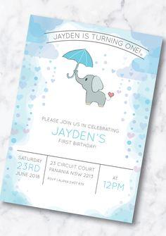 First Birthday Invitation - Baby Elephant - Boy or Girl Baby Boy First Birthday, First Birthday Invitations, First Birthdays, Rsvp, Handmade Gifts, Etsy, Kid Craft Gifts, One Year Birthday, Craft Gifts