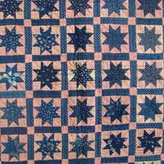 19thC-Folk-Art-Crib-Quilt-Variable-Star-Blue-Calico-All-Handsewn-Quilted-Antique