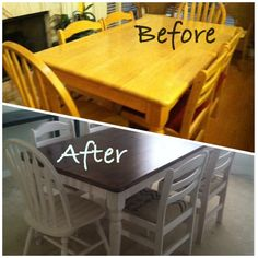 My Before/After farmhouse table!!  Bought set for $25 off of Craigslist - it was an oak finish with awful red material on the 4 side chairs.  Used Minwax Provincial 211 stain on top & kilz2 on everything else.  Sanded down for the worn/used look & then put on a final coat of Minwax Satin clear poly.  Took off red material to find this perfect burlap-like material.  Stamped a Hebrew blessing on the cushions with black fabric paint.  PERFECTO!!!  (Check my board for more pics!!)