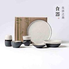 ¥ 99 ---  6pcs set --- lototo原创粗陶日式餐具陶瓷器饭碗 盘子杯子迷你6件套装 墨白-tmall.com天猫