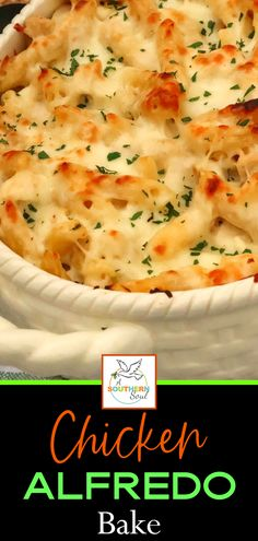Cheesy, creamy Chicken Alfredo Bake is a family favorite dish that's irresistible! When you're craving comfort food, look no further than this recipe. It's a make-ahead one-dish wonder that's great for potlucks, covered dish suppers, a weeknight meal or when you're feeding a crowd. #chickenalfredo #alfredobake #cheesychickencasserole #pastabake Cheesy Chicken Casserole, Casserole Dishes, Casserole Recipes, Casserole Ideas, Baked Chicken Recipes, Turkey Recipes, Chicken Meals, Rotisserie Chicken, Entree Recipes