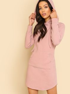 7869884d39c0 Shop Pocket Front Rib Knit Hoodie Dress online. SheIn offers Pocket Front  Rib Knit Hoodie