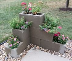 Cement Block Planter maybe for under the deck?