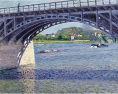 Gustave Caillebotte, Le Pont d'Argenteuil et la Seine on ArtStack #gustave-caillebotte #art