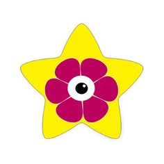 the eye of the pink flower star sticker - craft supplies diy custom design supply special
