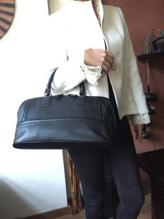 Black leather satchel, genuine soft leather, women purse, black leatherbag, casual tote, hand made spring gift for her