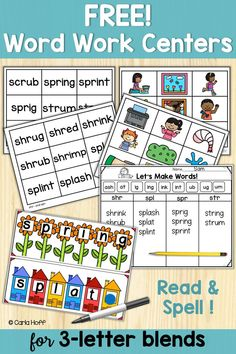 FREE Blends Activities FREE center or small group activities for reading and spelling practice words beginning with blends! Includes write on/wipe off spelling mats, word and picture cards, and a fun worksheet! Perfect for first grade! Spelling Word Practice, Spelling Words, Cvc Words, Word Work Activities, Group Activities, Spelling Activities, Montessori Activities, Educational Activities, Letter Blends