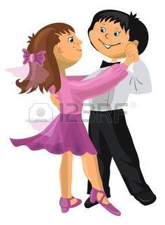 enfants qui dansent couple: Vector illustration - jeune garçon de bande dessinée et de fille qui danse