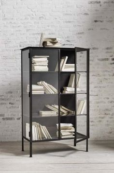 This Black Iron & Glass Floor Cabinet is a stunning and substantial piece of Industrial Furniture of Danish design. Glass Furniture, Metal Furniture, Furniture Design, Cabinet Furniture, Grey Cupboards, Black Cabinets, Diy Flooring, Bedroom Flooring, Metal Shelving Units