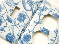 Light Switch Cover Outlet Cover Switchplate -- Blue Flowers